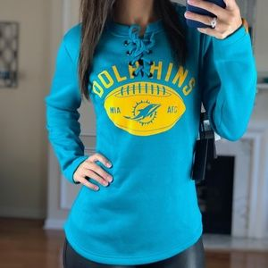 Miami Dolphins Lace Up Jersey Style Sweater